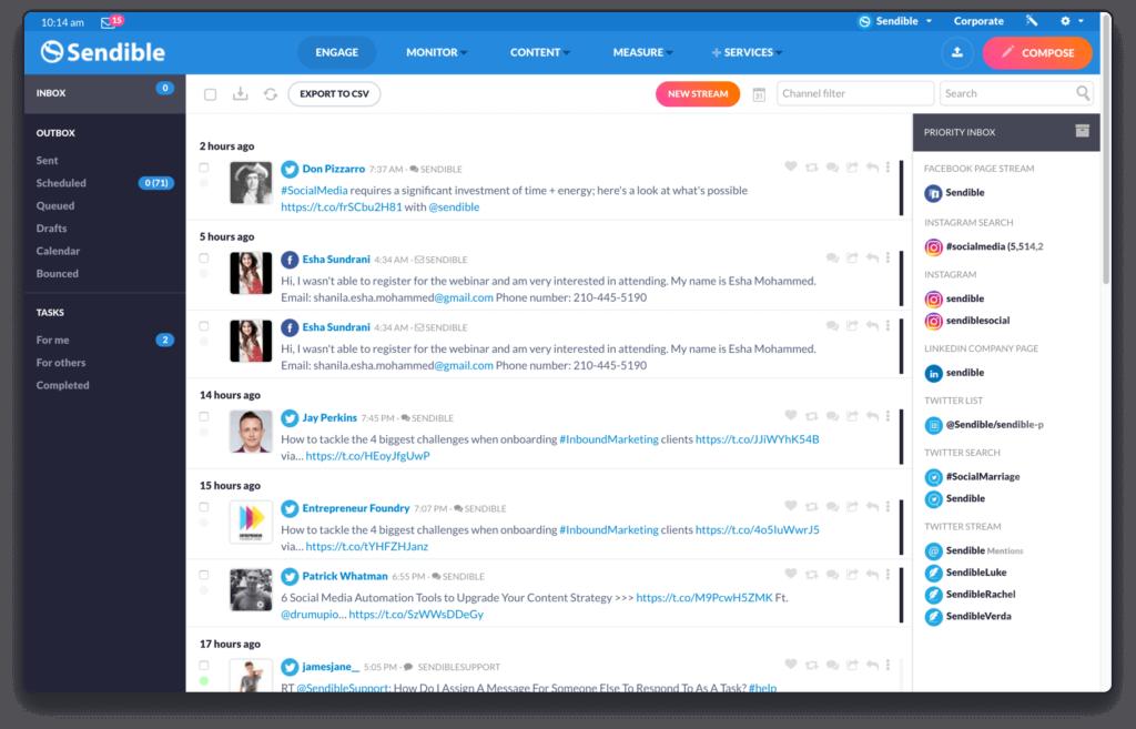 Sendible dashboard screenshot