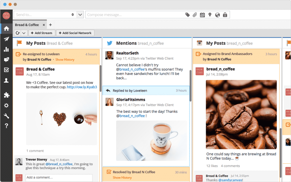 Hootsuite home page screenshot showing posts - εργαλείο διαχείρισης social media